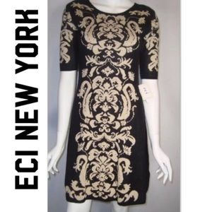 ECI New York Gold Thread Sweater Dress XS / Small